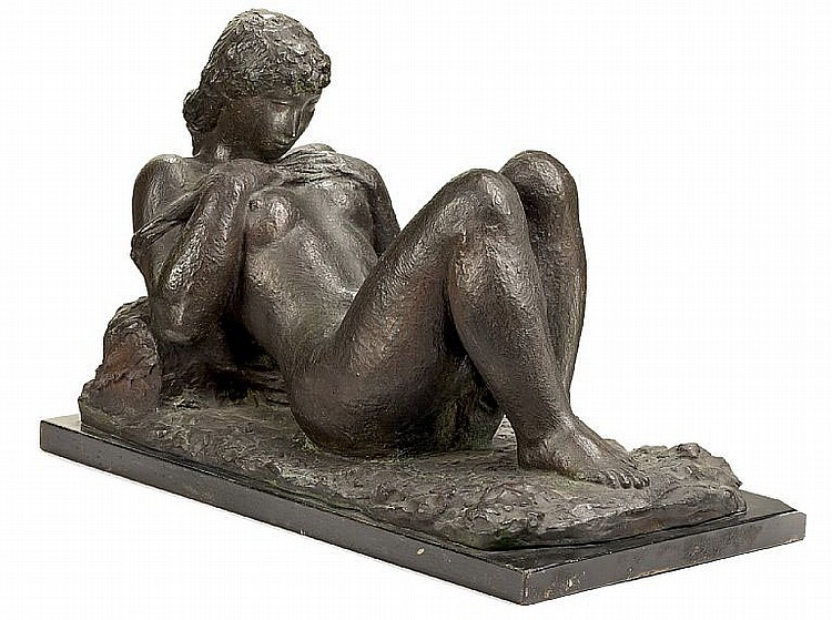 Gerhard Henning: Seated girl. Signed G. Henning 1943. Bronze. H. 28 cm. L. 40 cm.