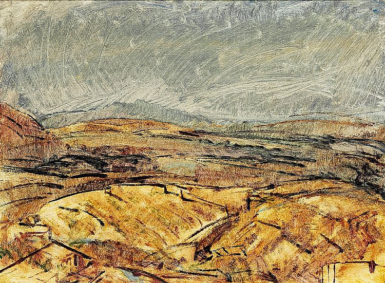 Alejandro Otero: Landscape. Indistinctly signed. Oil on cardboard. 54 x 74 cm.