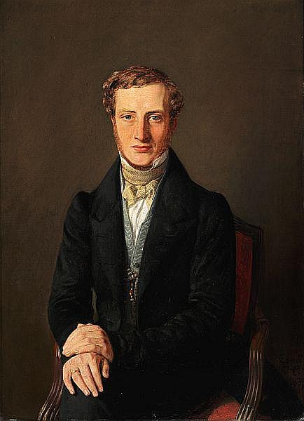 Constantin Hansen: Portrait of Frederik Hammerich (1809-1877) in a black jacket and a blue waistcoat.