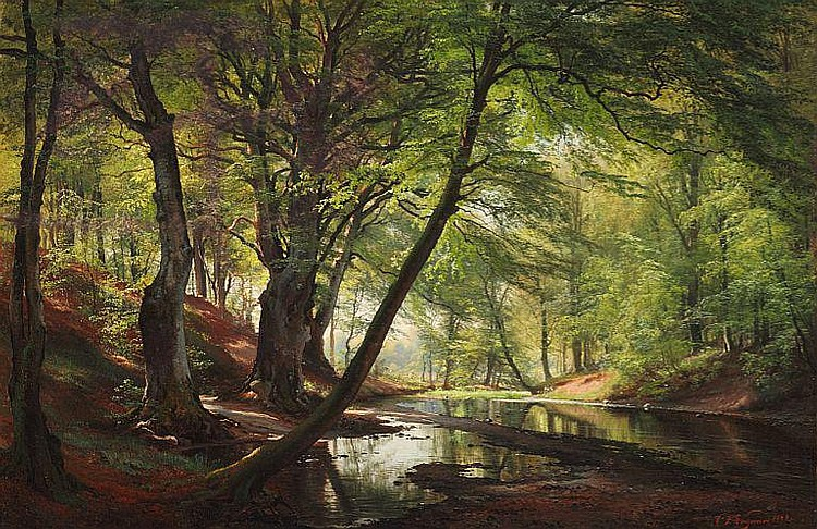 C. F. Aagaard: Forest lake. From Bondedammen near Hellebæk. September morning.