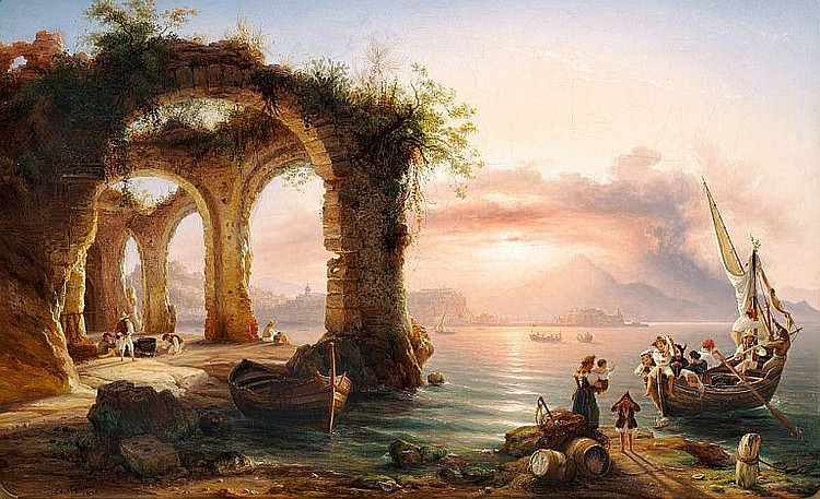 Eduard Agricola: Sunset in the Bay of Naples