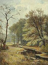 C. F. Aagaard : Spring with anglers by a stream.