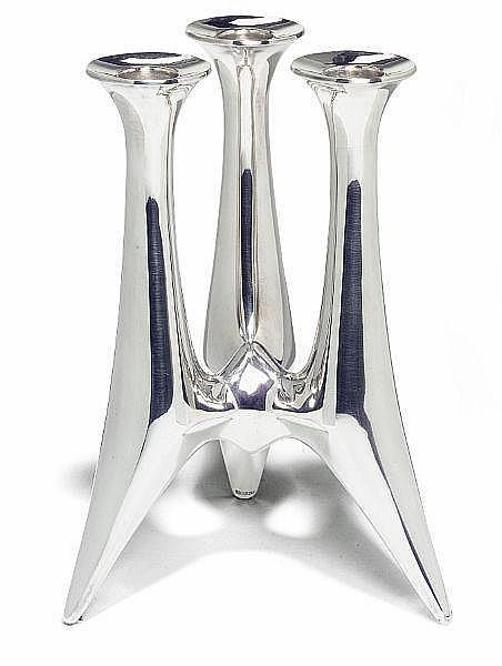 Bent Gabrielsen: Three arm sterling silver candlestick. H. 18,5 cm.