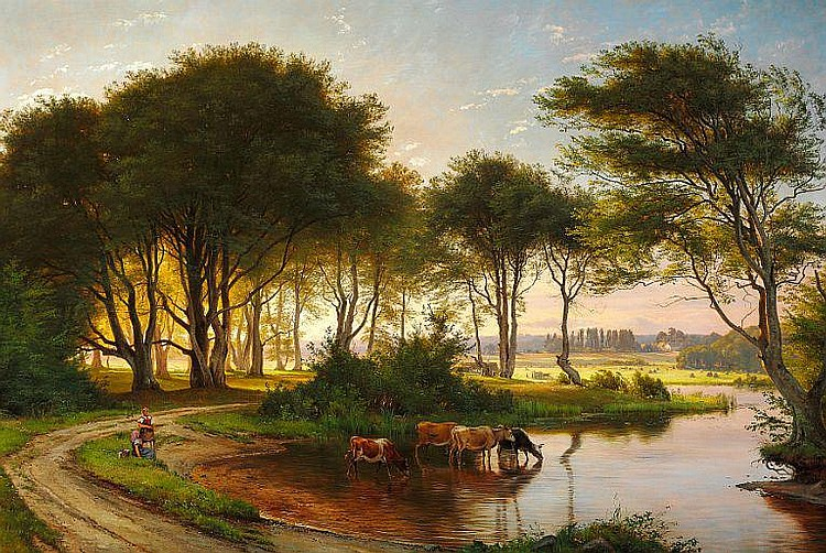 C. F. Aagaard: Danish summer landscape with two girls watering the cows in a stream. In the background sunny fields and farms.