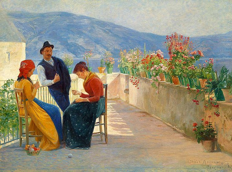 Cilius Andersen: Three young Italians on a terrace in Gargnano at Lake Garda.