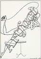 Stig Lommer: Lommerpige (Lommer Girl), nr. 282. Signed Lommer. Indian ink on paper. Visible size 41 x 26 cm.