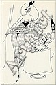 Stig Lommer: Lommerpige (Lommer Girl), nr. 154. Signed Lommer. Indian ink on paper. Visible size 41 x 26 cm.