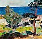 Olaf Rude: Overlooking the sea, Bornholm. Signed Olaf Rude 23. Oil on canvas. 70 x 73 cm.