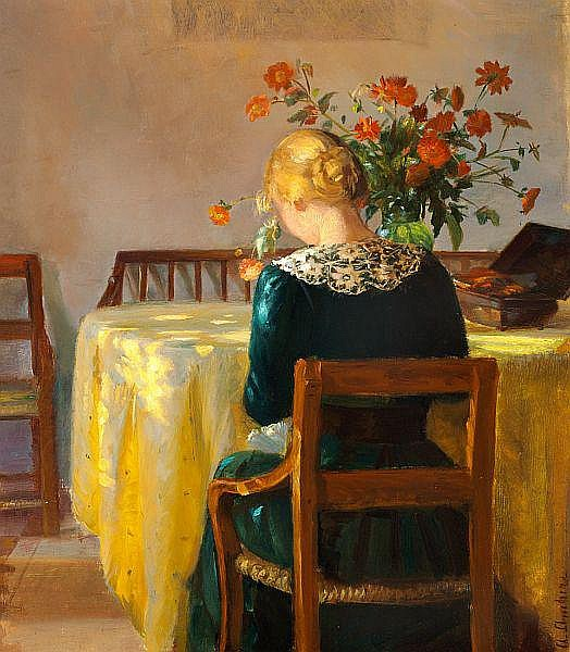 Anna Ancher: Interior with the painter's daughter Helga sewing.