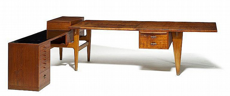 Hans J. Wegner: Desk with sideboard, frame of oak. Solid top, tambour shutter and drawer section of teak. Sideboard with top of black formica.