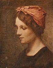 Frans Schwartz: Woman with a red head scarf.