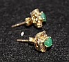 A Pair of Emerald and Gold Set Earrings