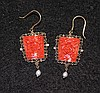 A Pair of Chinese Coral Mounted Gold Suspension Earrings