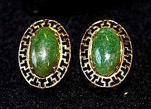 A Pair of Chinese Jade Set Gold Earrings
