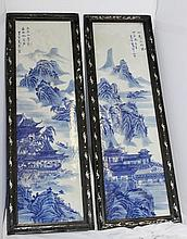 A Pair of Chinese Blue and White Plaques ,