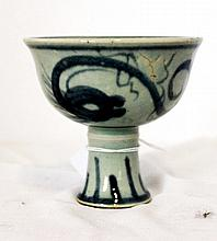 A Chinese Blue and White Stem Cup,