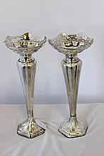 A Pair of George V Sterling Silver Vases ,