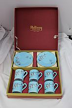 A  Set of Six Boxed Palissy Coffee Cans  , c 1960