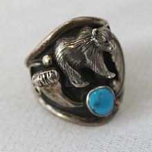 A Mexican Sterling Silver and Turquoise Ring