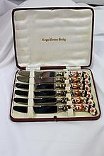 A Boxed Set of Six Royal Crown Derby Butter Knives