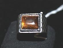 A Tigers Eye and Silvered Gents Ring