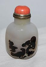 A Chinese Agate Snuff Bottle the globular bottle ,