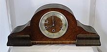 A German Walnut Veneered Mantle Clock c 1930