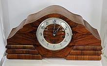 A German Walnut Veneered Mantle Clock c 1950
