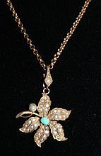 An Edwardian Seed Pearl and Rose Gold Pendent ,