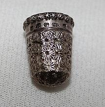 A Late Victorian Sterling Silver Thimble, Chester c1896