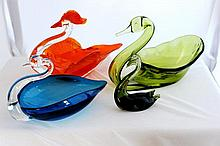A Selection of Three Figural Art Glass Vases,