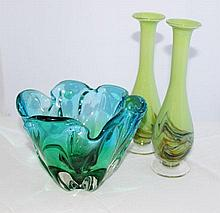 A Murano Three Color Sommerso Vase, c 1960,