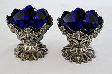 A Pair of Unusual Early Victorian  Sterling Silver Salts,