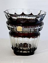 A Val St Lambert, Ruby Flashed Glass Vase, c 1950