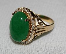 A Chinese Jade and Gold Ladies Dress Ring