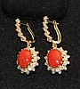 A Pair of Coral and Diamond Set Gold Earrings