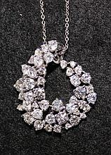 A White Gold And Diamond Set Pendent ,