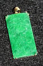 A Chinese Yellow Gold Mounted Rectangular Jade Plaque