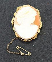 A Vintage Gilt Mounted Cameo Set Brooch ,