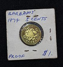 A Cased Barbados 1974 5 Cent Proof Coin