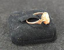 A Vintage Rose Gold  Cameo Set Ring ,