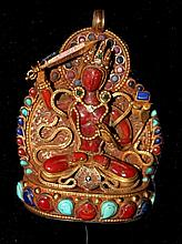 A Sino-Tibetan Geen Tara Pendent , Probably 19th Century