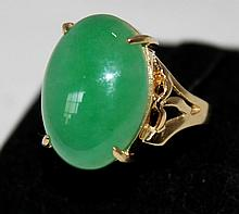 A Jade Mounted Gold Dress Ring