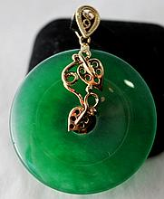 An Yellow Gold Mounted Jade Pendent