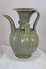 A Chinese Archaic Style Celadon Wine Ewer
