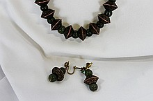 A Strand of Chinese Hardstone and Bronze Beads