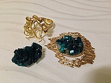 A Selection of 9 Carat Gold Crystal Mounted Jewellery ,