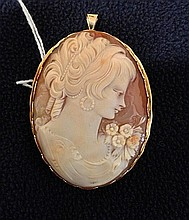 An Unmarked but Probably 9 Carat Cameo Brooch/Pendent