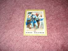 Vince Coleman 1987 Topps Team Leader  Autograph Card