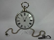 Antique Thomas Taylor Verge Fusee Pocket Watch Manchester England Silver Case mid 1800's SN 22932